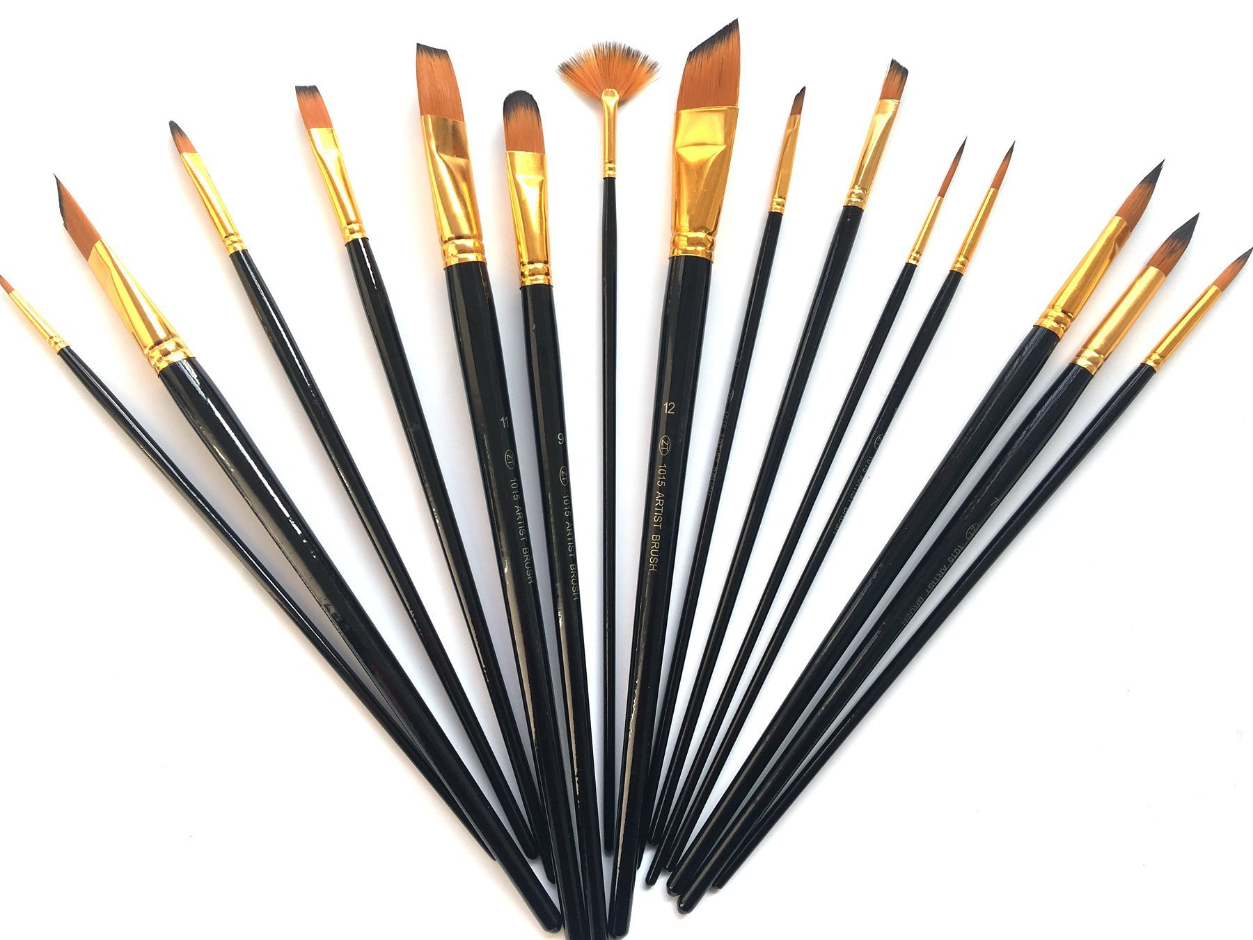 Timemorry 10/12/15 Pieces Painting Brushes with Carry Case, Nylon Hair + Wooden Handle Artist Paint Brushes for Acrylic, Oil, Watercolor Painting (15Pieces, Black)