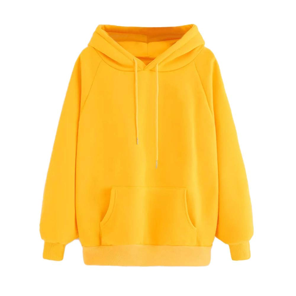 Clearance!Women Winter Long Sleeve Hoodie Sweatshirt Cuekondy Casual Solid Color Pocket Hooded Pullover Tops Blouse