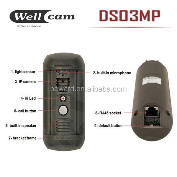 access control vandalproof wired interphone