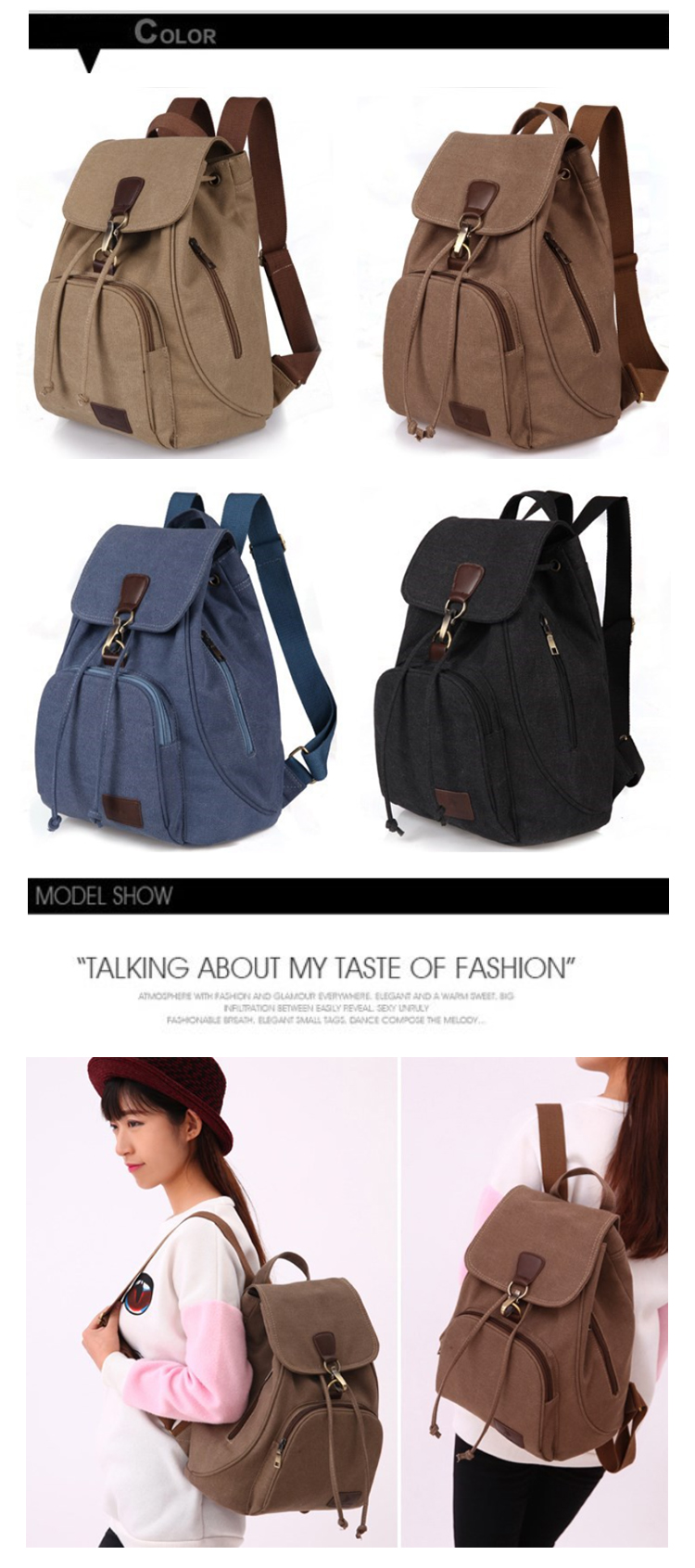 Osgoodway2 Factory Price Drawstring Travel Rucksack Canvas  Women Backpack School Bag For Girls