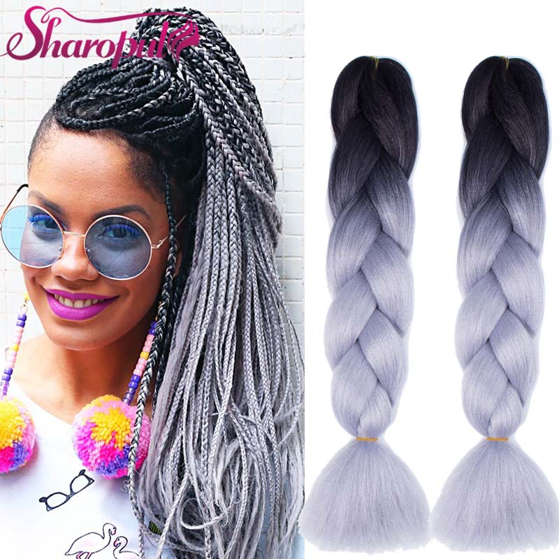 24inch 82inch Expression Hair Braiding Extensions Silver Gray Braiding Hair
