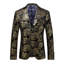 MEIJIANA 2020, хит продаж, роскошные мужские вечерние пиджаки, мужской модный золотой пиджак, однобортный свадебный костюм(Китай)
