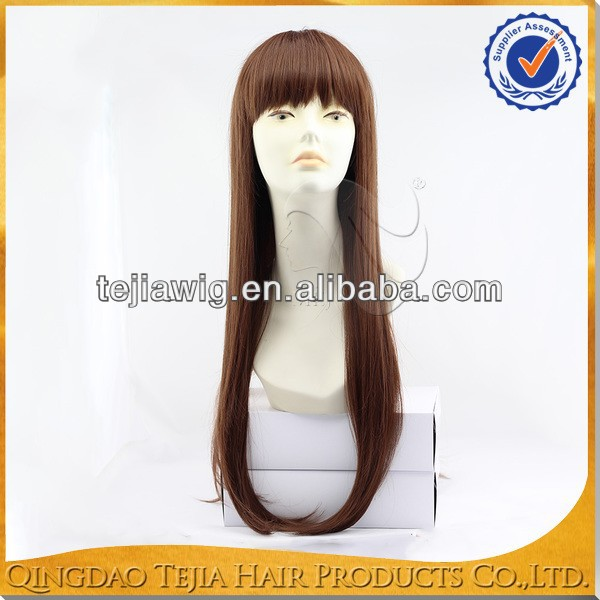 Best selling silky straight futura synthetic fiber super long wigs with bangs