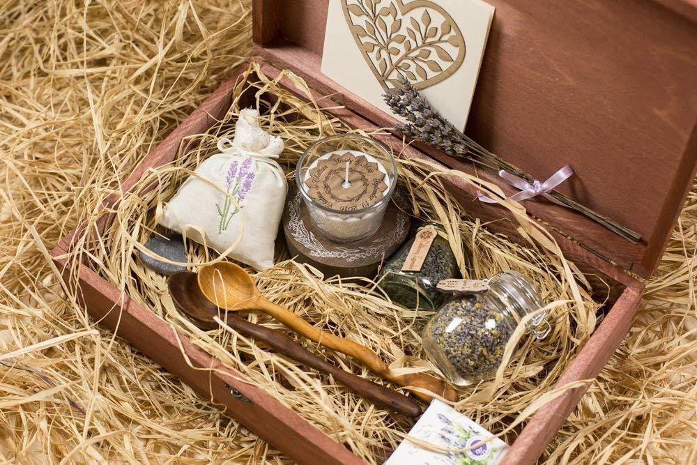 Personalized wooden gift box, custom engraved wedding gift box, personalized keepsakes, wedding favors, lavender set, wood keepsake box