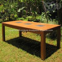 Granite top dining tables solid teak wood for outdoor garden