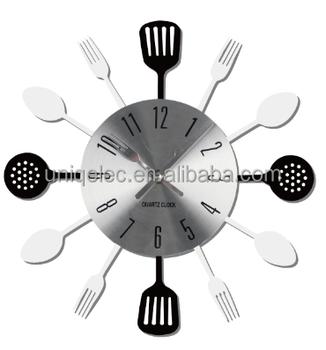 Cucina Decorativo Orologio Da Parete Con Cucchiaio In Acciaio Inox E  Forchetta - Buy Orologio Da Parete Decorativo,Orologio Da Parete,Orologio  Da ...