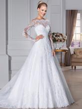 Kvalitní svatební šaty s krajkovým dlouhým rukávem