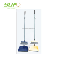 Broom and Dust Pan with Long Handle, Standing Upright Grips Sweep Set