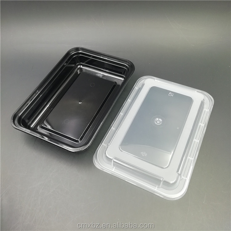 Wholesale matt lid PP microwave black plastic food disposable container