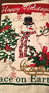 Christmas House Festive Holiday Kitchen Towel, Whimsical Snowman
