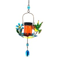 Hummingbird Glass Hanging Metal Solar Wholesale Tube Wind Chime