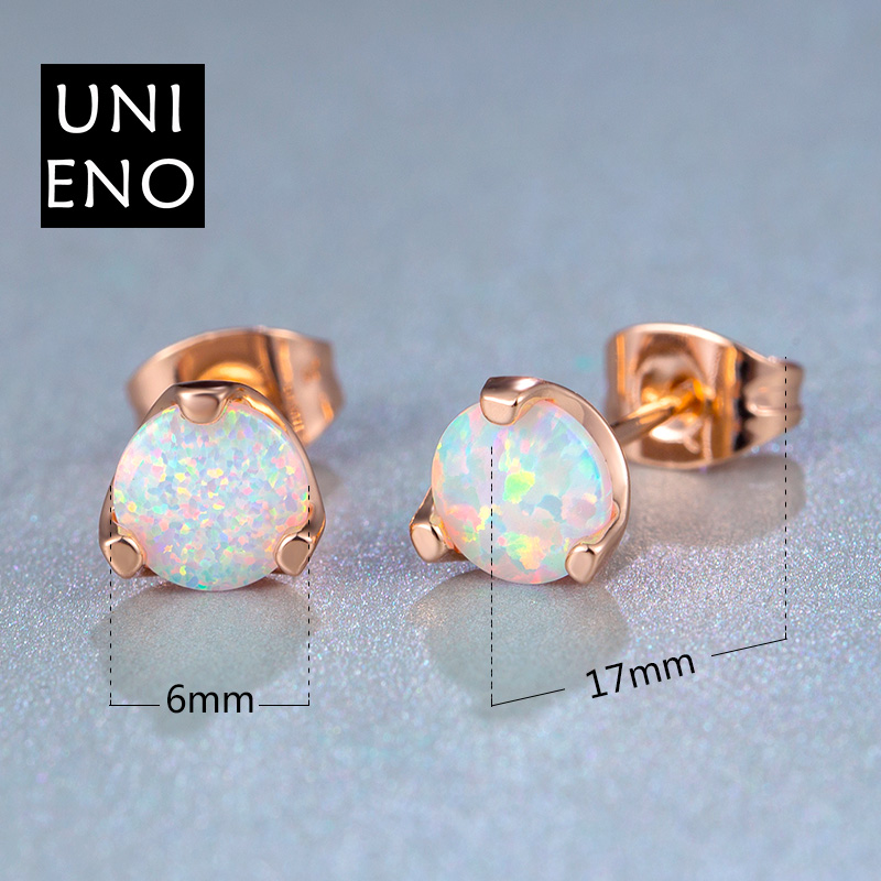 Fashion Jewelry Multi-color White Fire Opal Stud Rose Gold Plated Earrings For Women Engagement