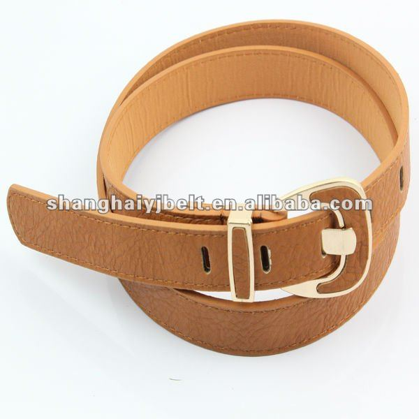 latest design covered button brown skinny PU belt
