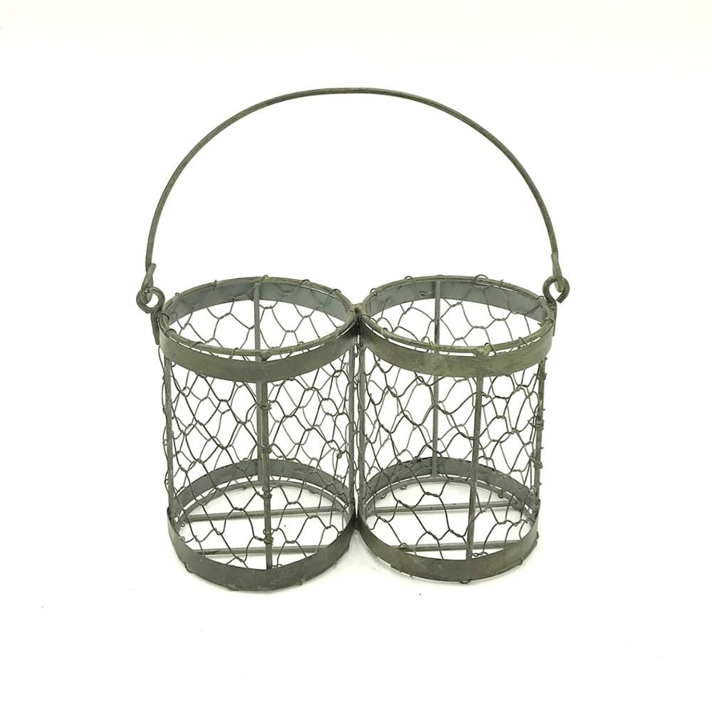 Twins metal basket for home decor or drink bottles.