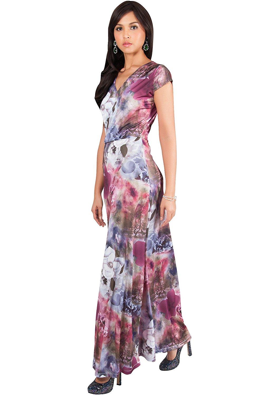 83de6101dd83 KOH KOH Womens Long Cap Sleeve Floral Print V-Neck Boho Flowy Summer Maxi  Dress