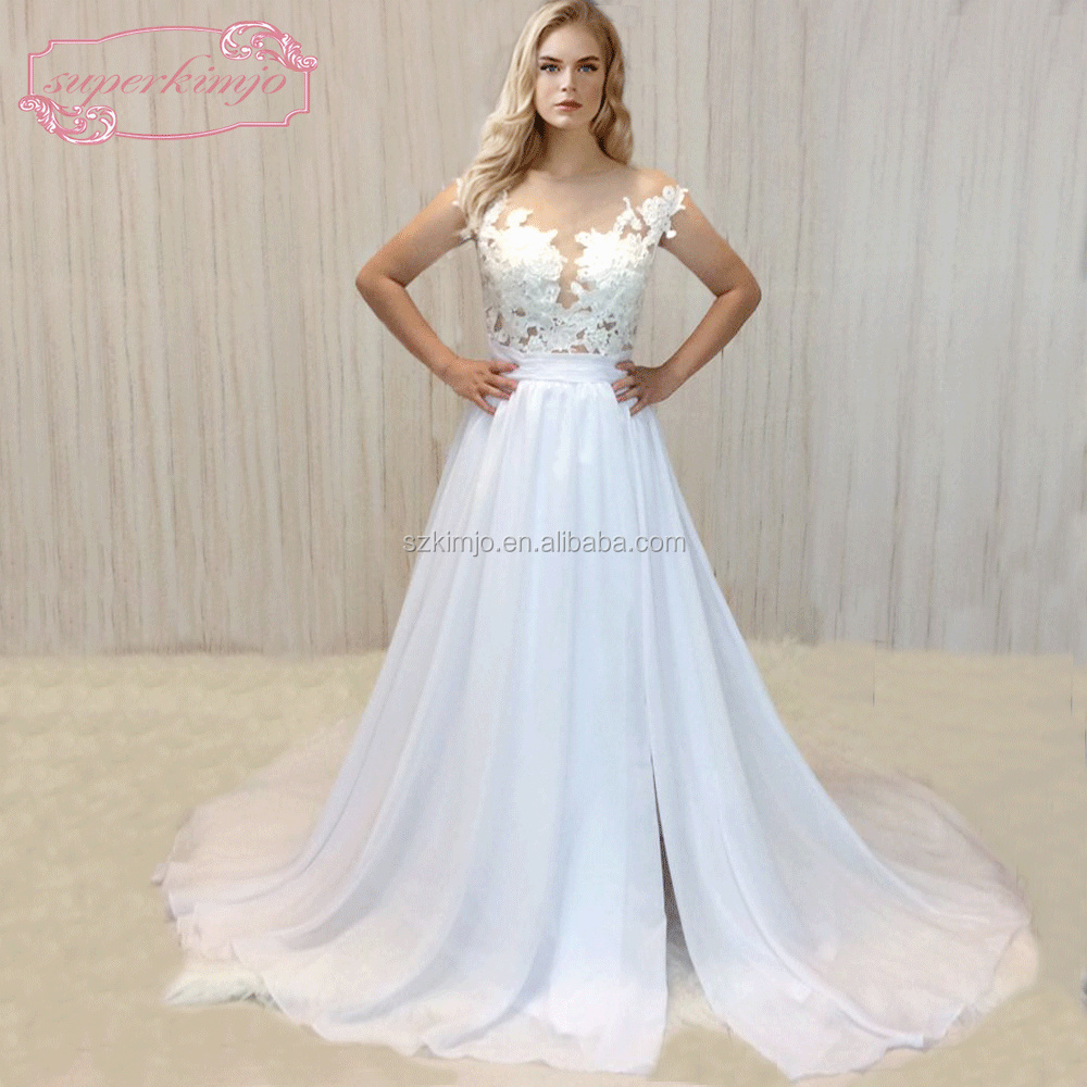 Chiffon Beach Wedding Dresses China 2018 Lace Applique A Line Cap ...