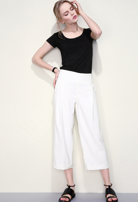 Ladies White Pants Formal Loose Wide Leg Pants Oem Odm Women White ...