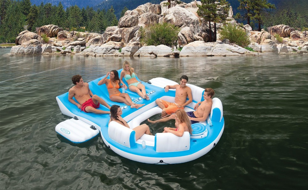 Large Inflatable Lounger Chair Relax Cupholder Pool River