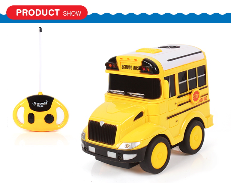 Perfect gift 4 channel electric radio control school bus toys for birthday boys