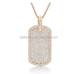 Rose Gold Plated 925 Sterling Silver Cubic Zirconia CZ Hip Hop Jewelry Bling Bling Mens Iced Out Dog Tag Pendant Necklace