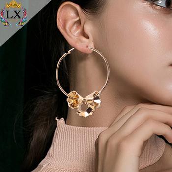 Elx 01015 Korean Earring Latest Fashion Gold Hoop Earrings Simple