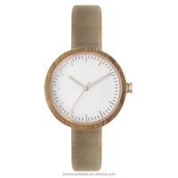 China supplie wholesale custom slim round wood watch women