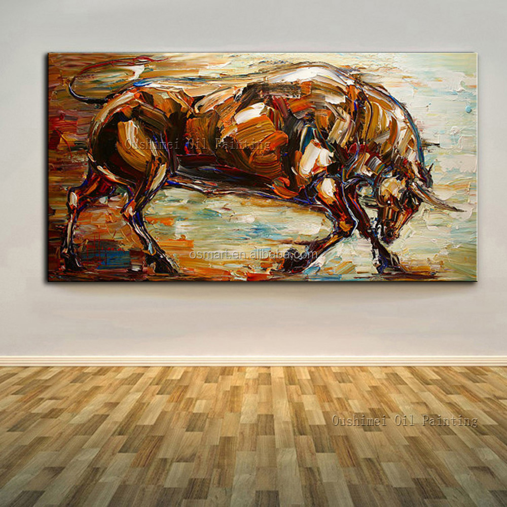 High Skills Artist 100%Hand-painted Abstract Bull Oil Painting On Canvas Handmade Bull Painting For Office Decoration