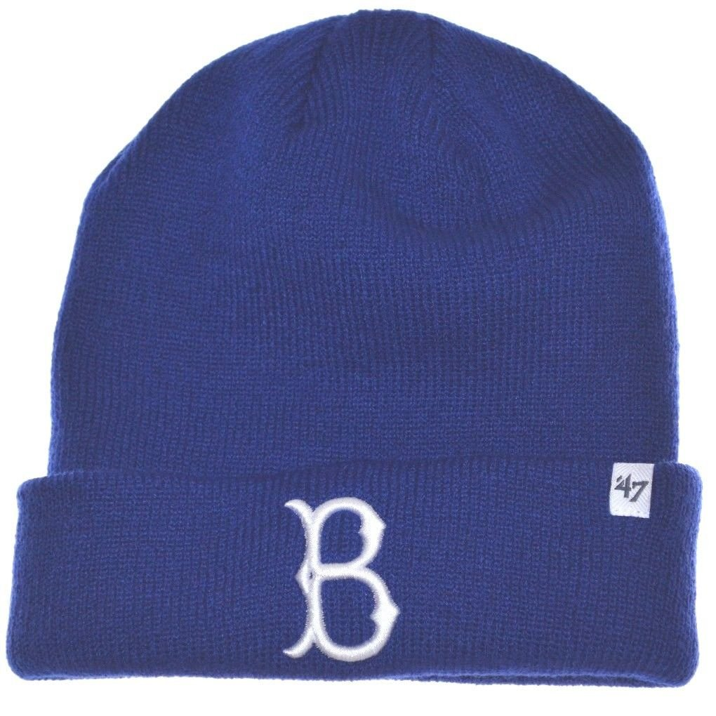 405e34e6b42 Get Quotations · MLB Brooklyn Dodgers Cuffed Beanie Knit Hat-blue