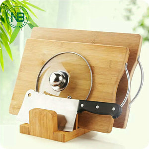 Natural Bamboo Napkin Holder Pot Lid Organizer Chopping Cutting board Stand Dish Rack