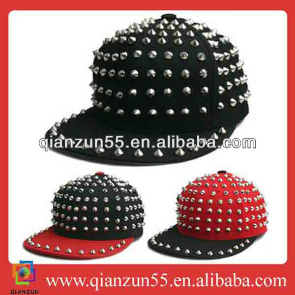 2013 custom tisa fahion solid fitted spike punk custom made trucker hats cap