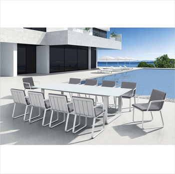 Luxury 8 Armrest Chairs Rectangle Table White Aluminum Outdoor Garden Furniture Dining Room Set