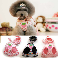 Lovely Strawberry Pattern Style Soft Harness and Leash Dog Leads Set For Small Dog Harness