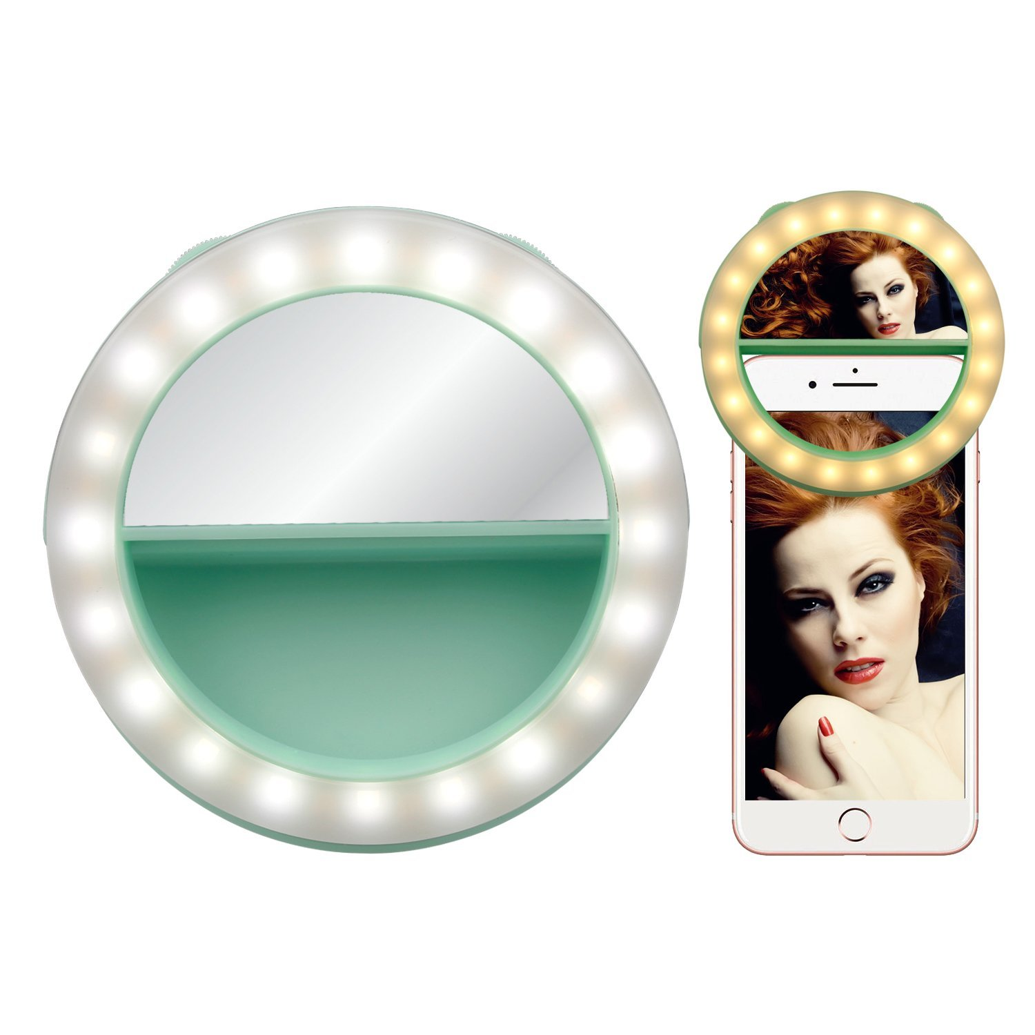 Selfie Ring Light for Phone, Ocathnon Ring Light for Camera [Rechargable Battery] Selfie LED Camera Light with Make-up Mirror [40LED] for iPhone Samsung Galaxy Photography Video