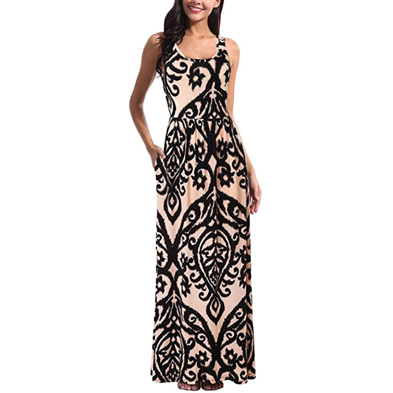 8f9aae7bb37 AmyDong Hot Sale! Ladies Dress, Sleeveless Print Maxi Dress Summer Beach  Skirts Elegant Dress