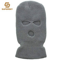 custom grey knitted balaclava hat knitted ski mask 3 hole ski mask