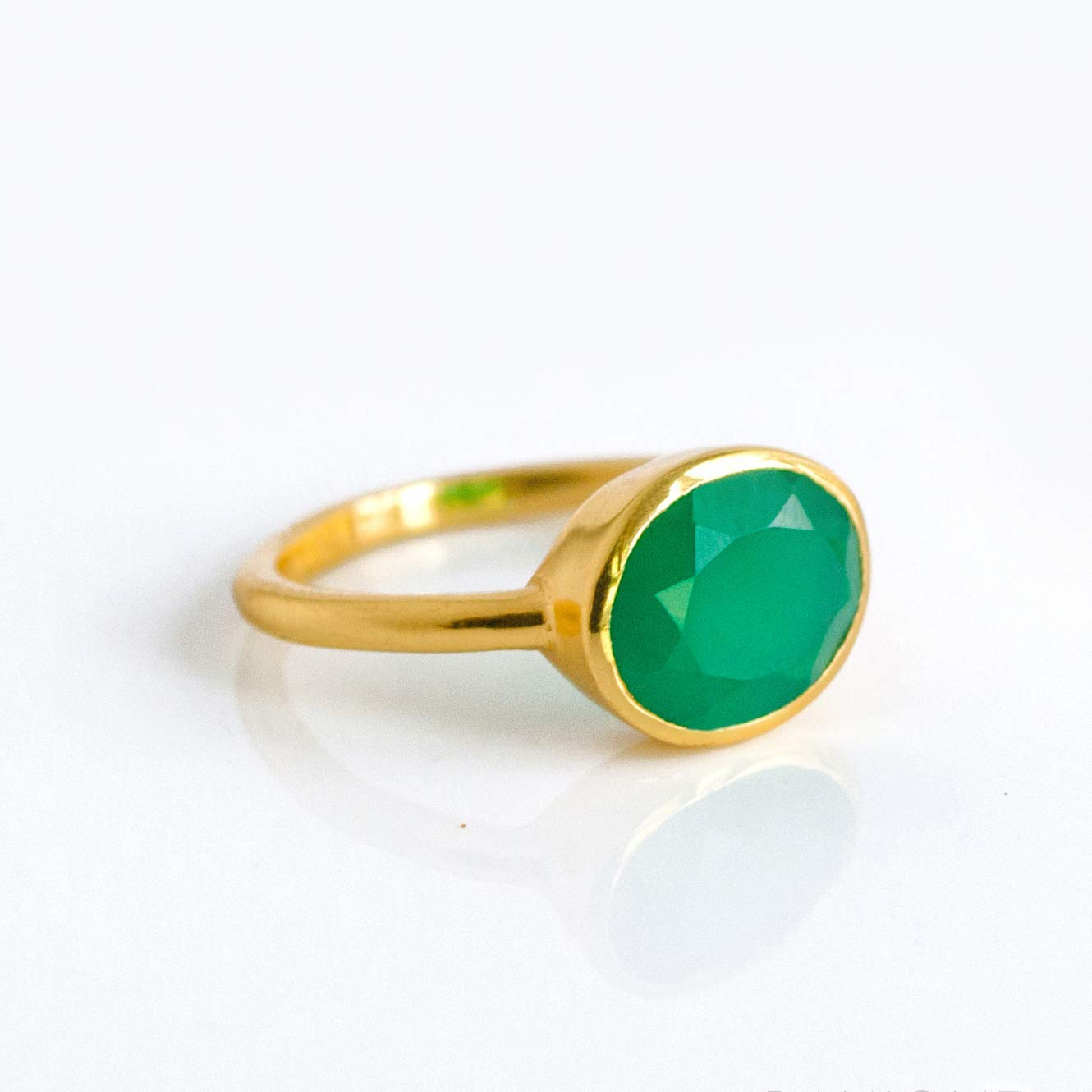 551502df6 Get Quotations · Oval Emerald Green Onyx Ring Bezel Set in Sterling Silver  or Vermeil Gold