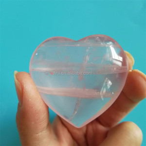 Natural Handmade Rock Pink Rose Quartz Crystal Heart Shaped Healing Chakra Stone For Gift