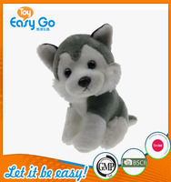 Customized lovely simulation plush grey and white dog toys