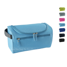 Large Capacity Blue Portable Mens Canvas Toiletry Bag Travel Storage Shaving Kit