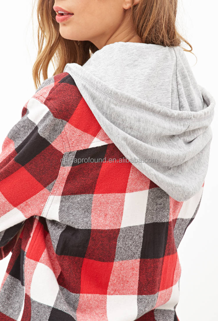 fashion hooded check shirt hoodie womens flannel shirt with hood ...
