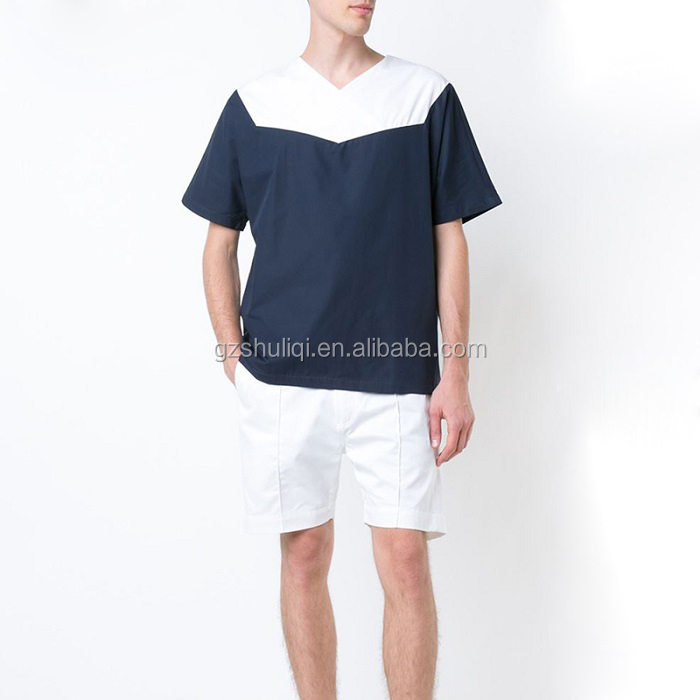 polyester t-shirt OEM high quality plain no brand navy blue and white cotton loose fit v neck t-shirt