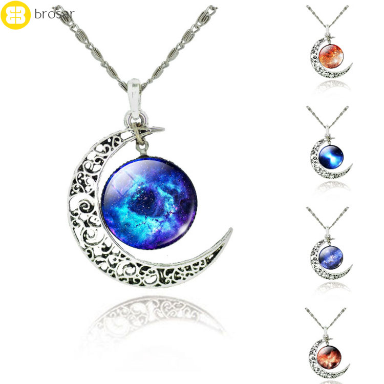fashion moon space wars glass ball universe necklaces galaxy crescent moon charm necklace