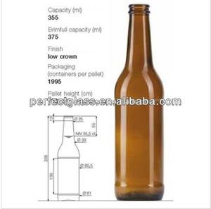 355ml long neck amber beer bottles