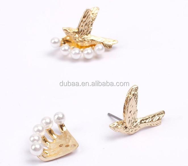 Latest Design Of Pearl Earrings Gold Bird Stud Earrings