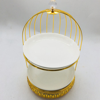 New Arrival Wholesale Custom 2 tiers white mirror wedding cake stand