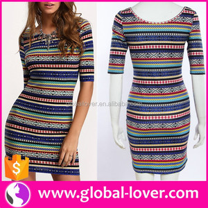 Stock Sublimation Dress Free Shipping Women Printed Mid-Sleeve Dress