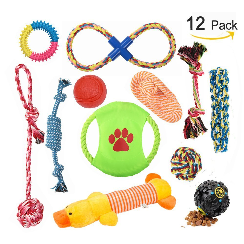 Aipper Dog Puppy Toys 12 Pack, Puppy Chew Toys for Playtime and Teeth Cleaning, IQ Treat Ball Squeak Toys and Dog Frisbee Included, Puppy Teething Toys for Medium To Small Dogs (Assorted Colors)