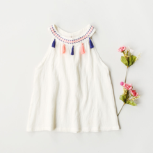 PHB20848 O collar design white color kids summer wholesale girl's dress