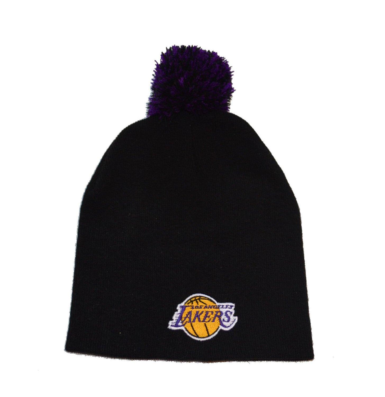 9a035a04f8fd0 Get Quotations · Los Angeles Lakers Black Pom Skull Cap - NBA LA Cuffless  Knit Hat