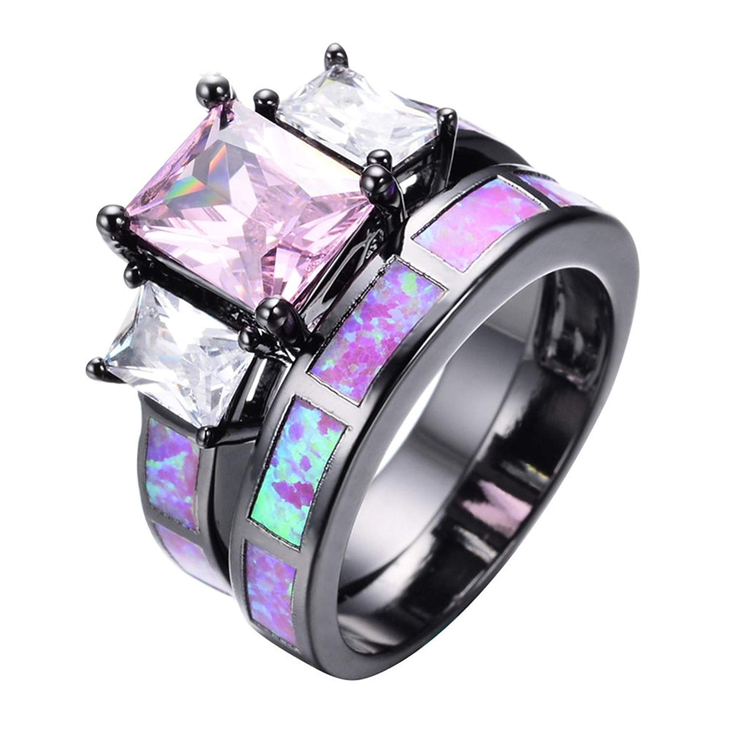 FR/&T ring Green Fire Opal Emerald Jewelry Ring For Women Engagement Wedding Bridal Rings